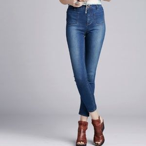 Free People Beverley High Rise Skinny Jeans Blue
